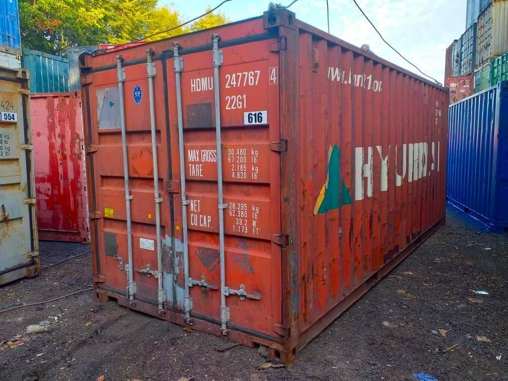 Морской контейнер 20 футов Б/У в заводской краске ( красный) фото